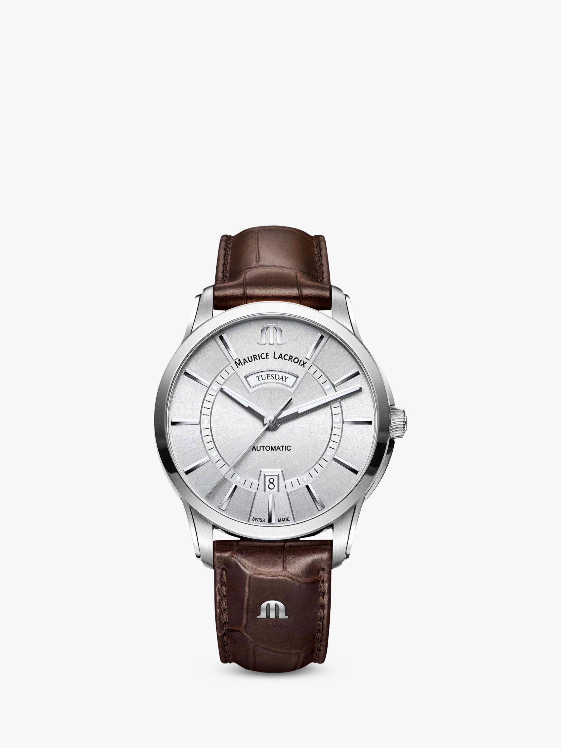 Maurice Lacroix Maurice Lacroix PT6358-SS001-130-1 Men's Pontos Automatic Day Date Leather Strap Watch, Brown/Silver