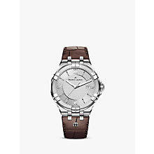 Buy Maurice Lacroix AI1008-SS001-130-1 Men's Aikon Date Leather Strap Watch, Brown/Silver Online at johnlewis.com