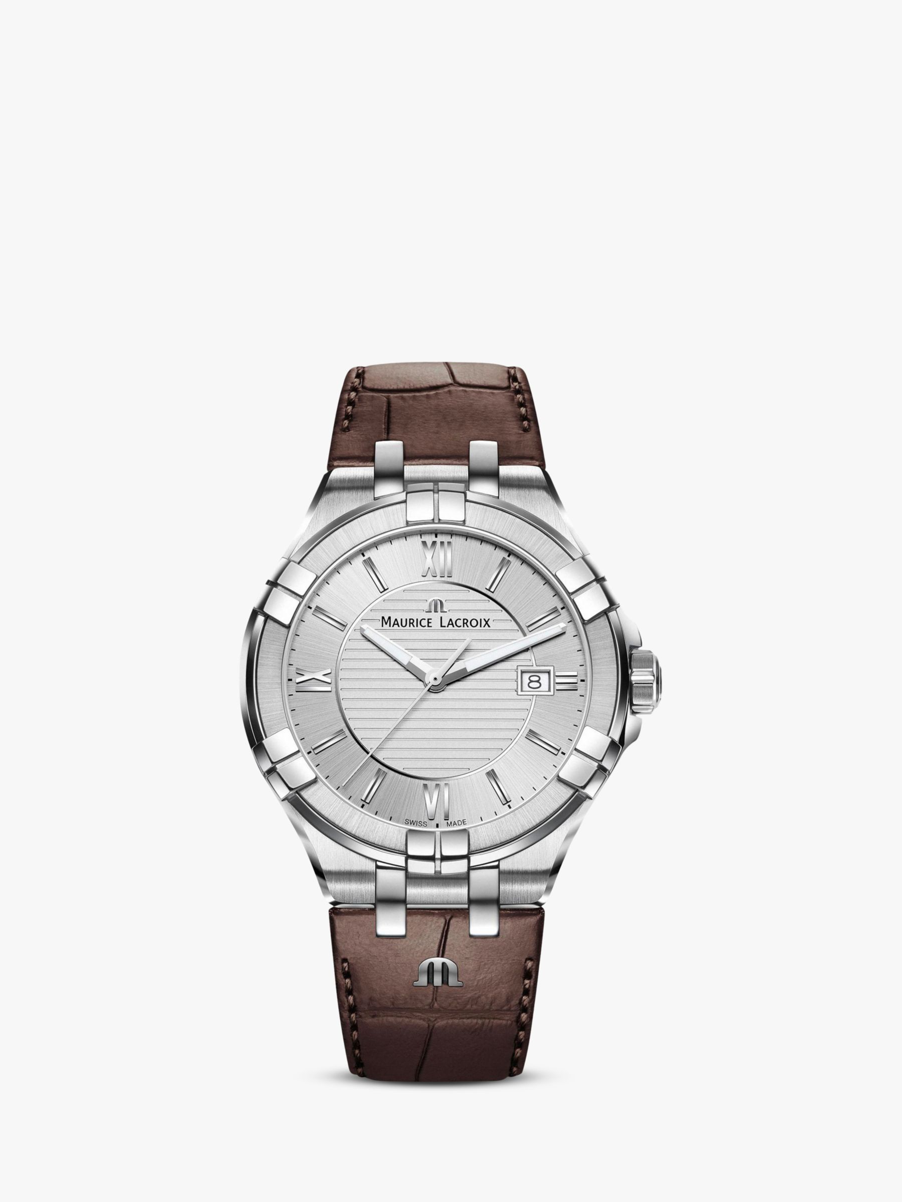 Maurice Lacroix Maurice Lacroix AI1008-SS001-130-1 Men's Aikon Date Leather Strap Watch, Brown/Silver
