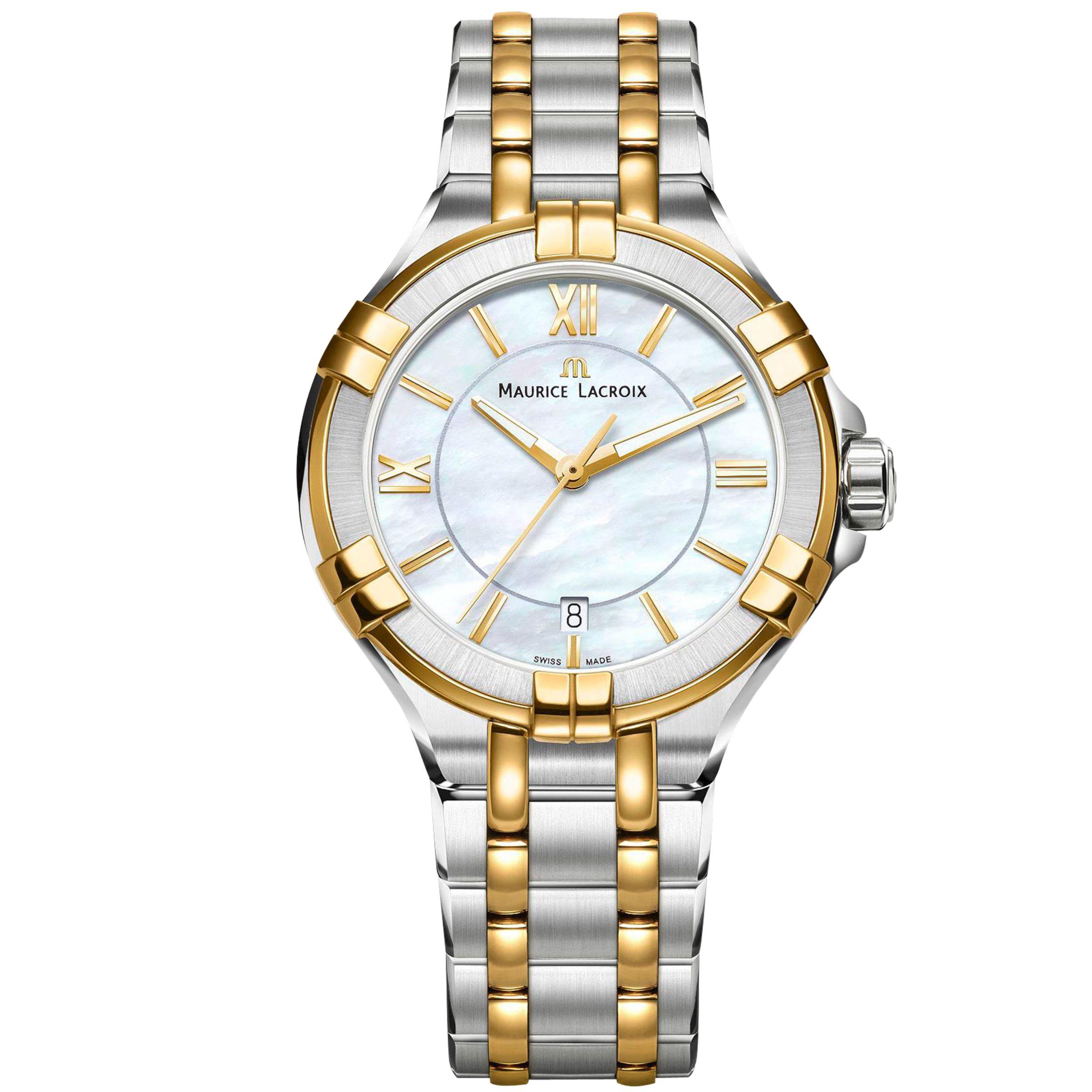 Maurice Lacroix Maurice Lacroix AI1006-PVY13-160-1 Women's Aikon Date Two Tone Bracelet Strap Watch, Silver/Gold