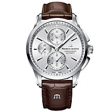 Buy Maurice Lacroix  PT6388-SS001-130-1 Men's Pontos Chronograph Date Automatic Leather Strap Watch, Brown/Silver Online at johnlewis.com
