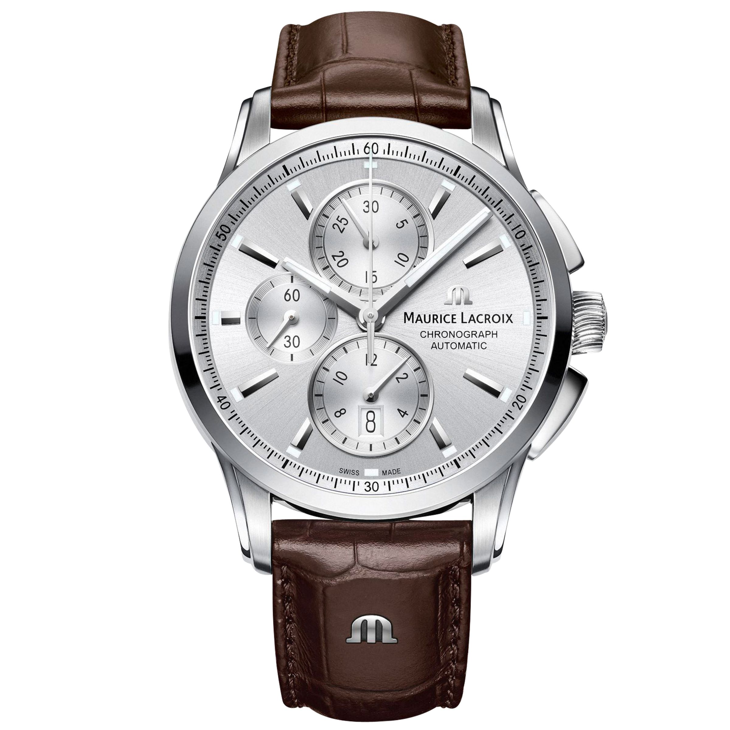 Maurice Lacroix Maurice Lacroix PT6388-SS001-130-1 Men's Pontos Chronograph Date Automatic Leather Strap Watch, Brown/Silver