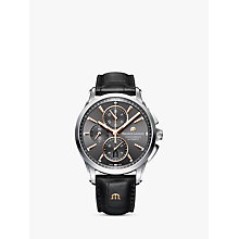 Buy Maurice Lacroix PT6388-SS001-331-1 Men's Pontos Chronograph Date Automatic Leather Strap Watch, Black Online at johnlewis.com