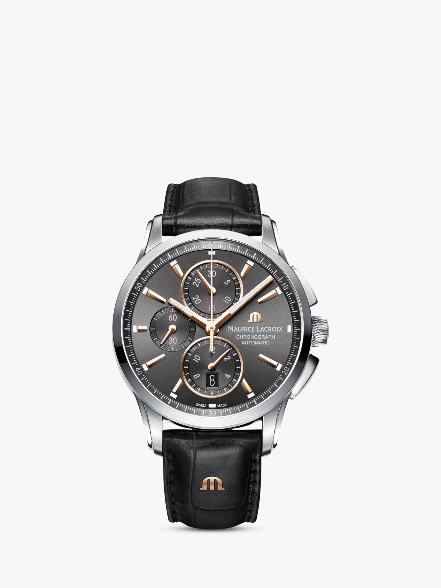 Maurice Lacroix Maurice Lacroix PT6388-SS001-331-1 Men's Pontos Chronograph Date Automatic Leather Strap Watch, Black