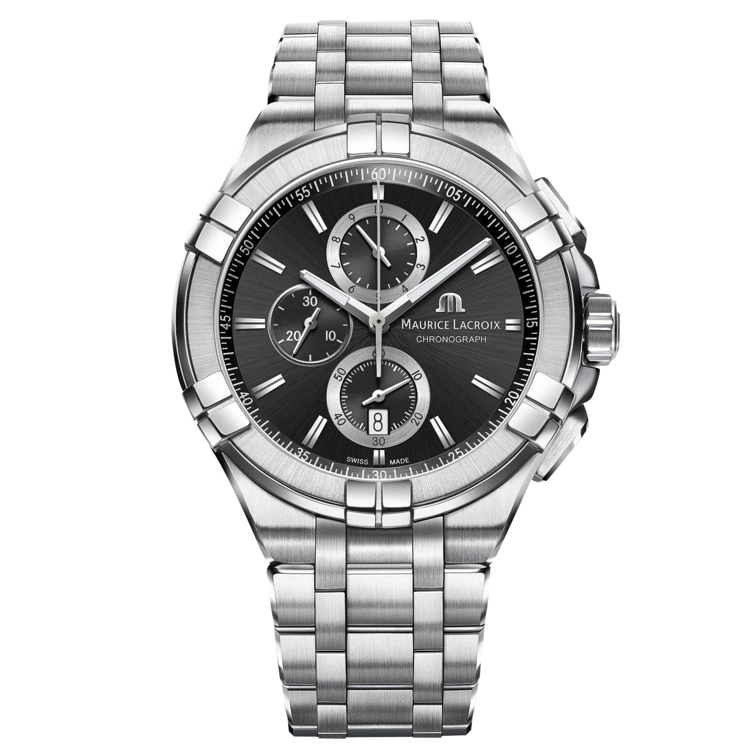 Maurice Lacroix Maurice Lacroix AI1018-SS002-330-1 Men's Aikon Chronograph Date Bracelet Strap Watch, Silver/Black