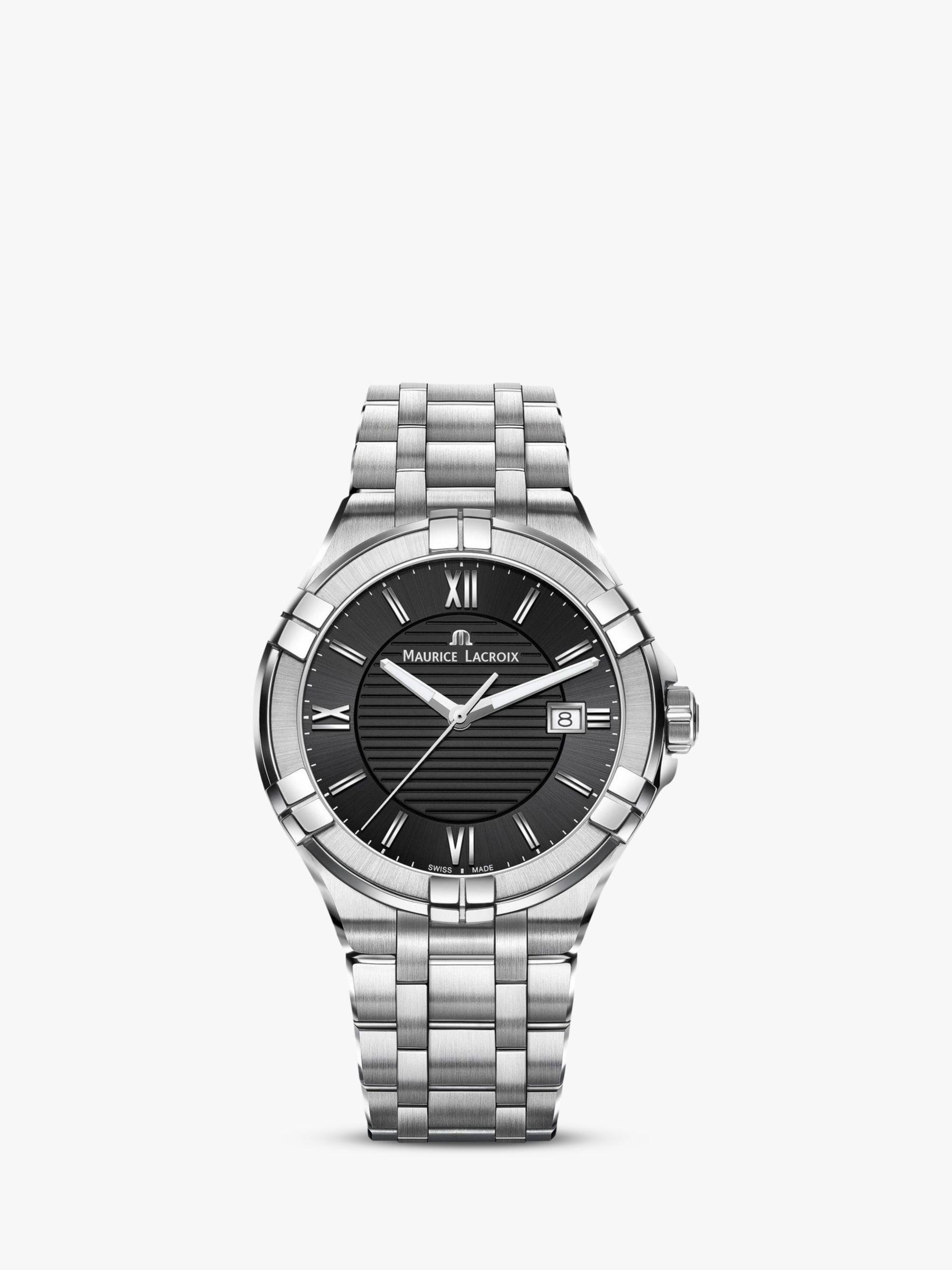 Maurice Lacroix Maurice Lacroix AI1008-SS002-330-1 Men's Aikon Date Bracelet Strap Watch, Silver/Black