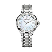 Buy Maurice Lacroix AI1006-SD502-170-1 Women's Aikon Diamond Date Bracelet Strap Watch, Silver/Mother of Pearl Blue Online at johnlewis.com