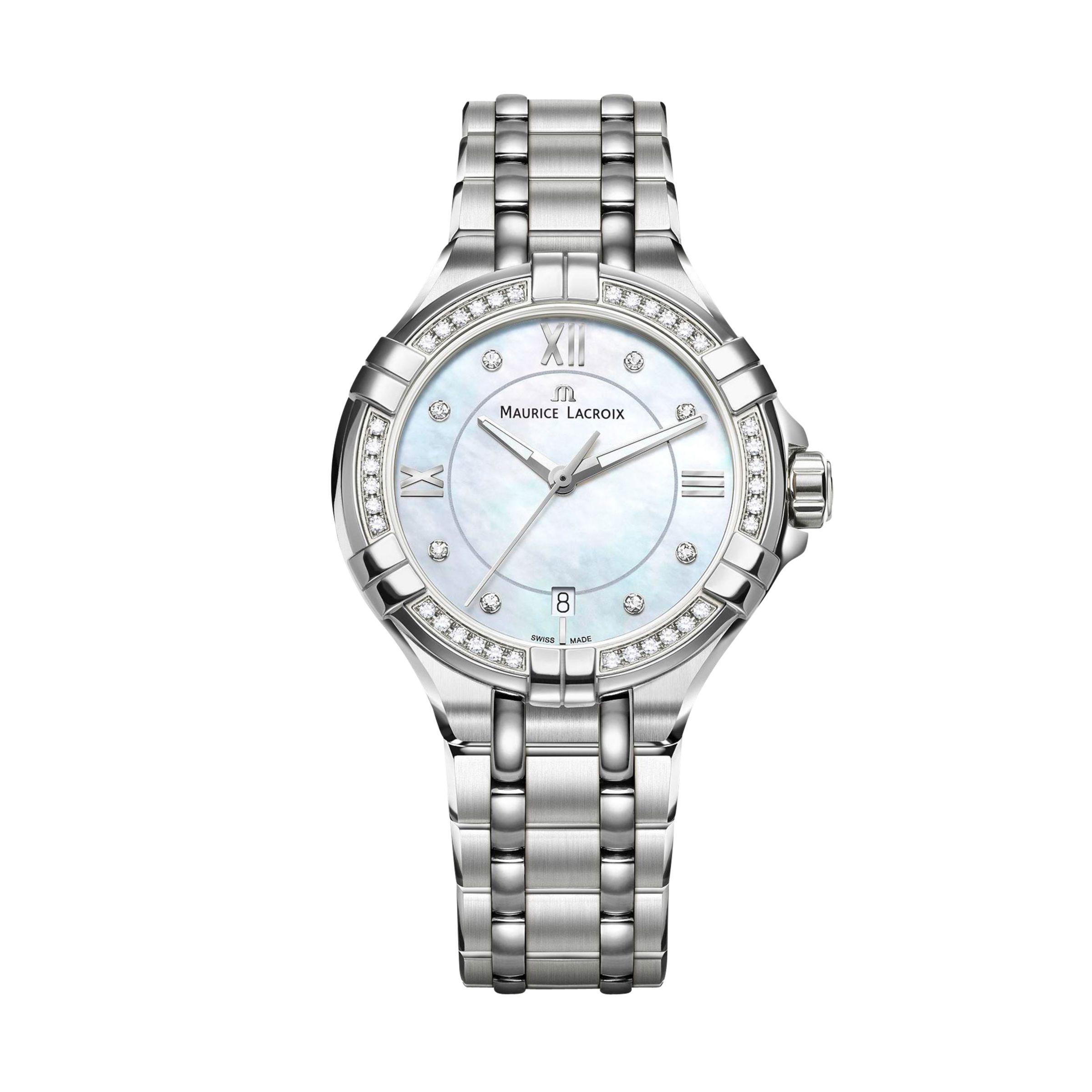 Maurice Lacroix Maurice Lacroix AI1006-SD502-170-1 Women's Aikon Diamond Date Bracelet Strap Watch, Silver/Mother of Pearl Blue