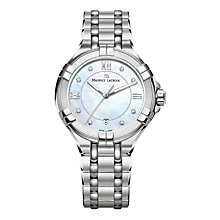 Buy Maurice Lacroix AI1006-SS002-170-1 Women's Aikon Date Diamond Bracelet Strap Watch, Silver/Mother of Pearl Blue Online at johnlewis.com