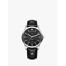 Buy Maurice Lacroix PT6358-SS001-330-1 Men's Pontos Automatic Day Date Leather Strap Watch, Black Online at johnlewis.com