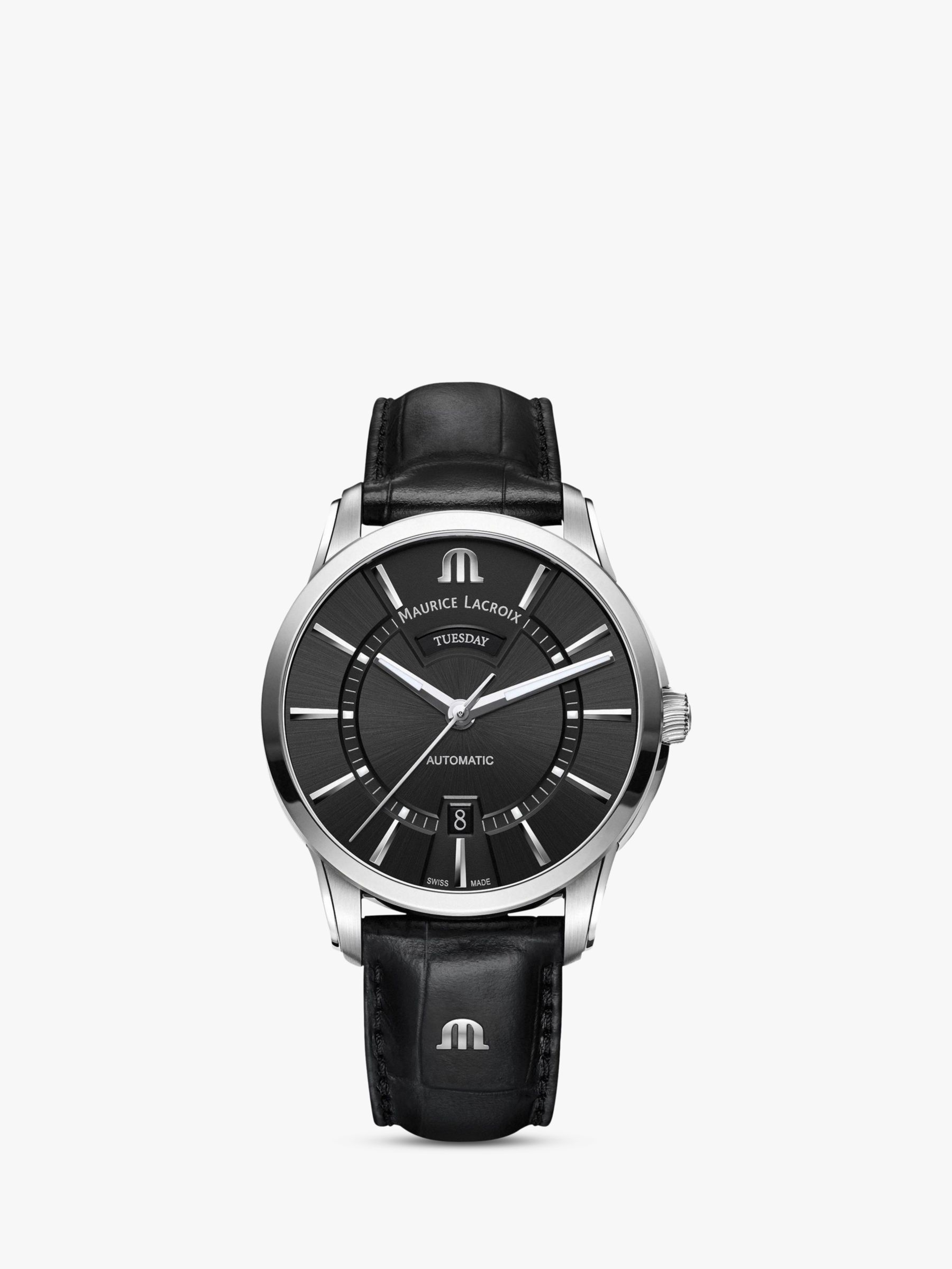 Maurice Lacroix Maurice Lacroix PT6358-SS001-330-1 Men's Pontos Automatic Day Date Leather Strap Watch, Black