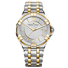Buy Maurice Lacroix AI1008-PVY13-132-1 Men's Aikon Date Bracelet Strap Watch, Silver/Gold Online at johnlewis.com