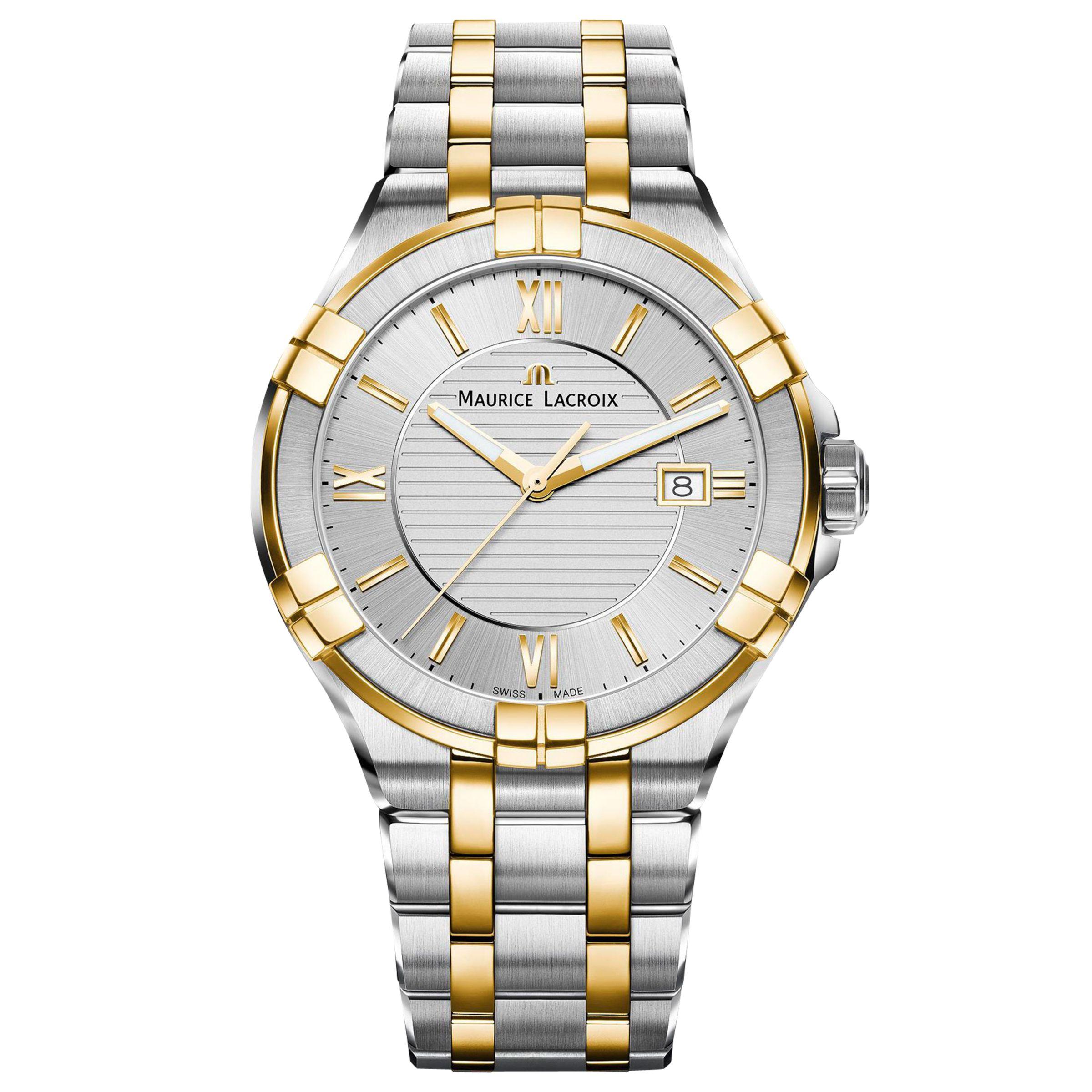 Maurice Lacroix Maurice Lacroix AI1008-PVY13-132-1 Men's Aikon Date Bracelet Strap Watch, Silver/Gold
