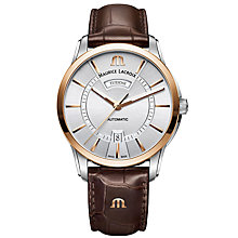 Buy Maurice Lacroix PT6358-PS101-130-1 Men's Pontos Automatic Day Date Leather Strap Watch, Brown/Silver Online at johnlewis.com