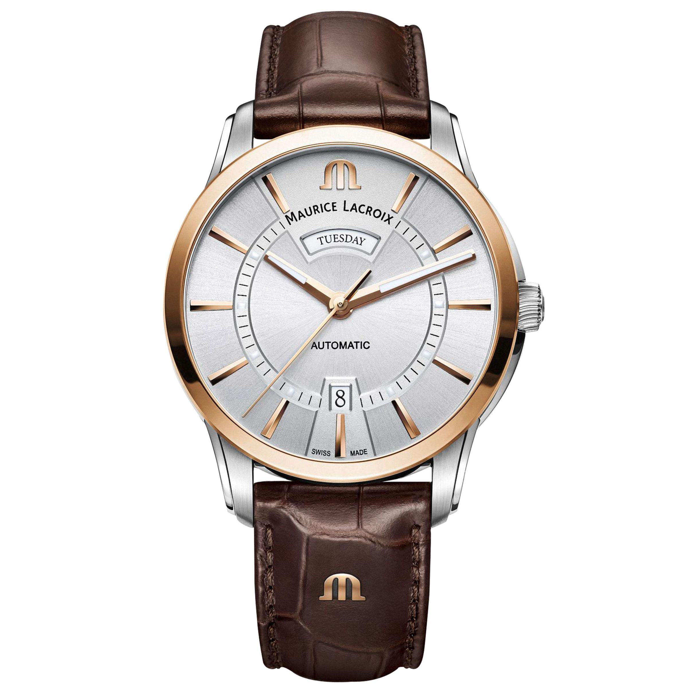Maurice Lacroix Maurice Lacroix PT6358-PS101-130-1 Men's Pontos Automatic Day Date Leather Strap Watch, Brown/Silver
