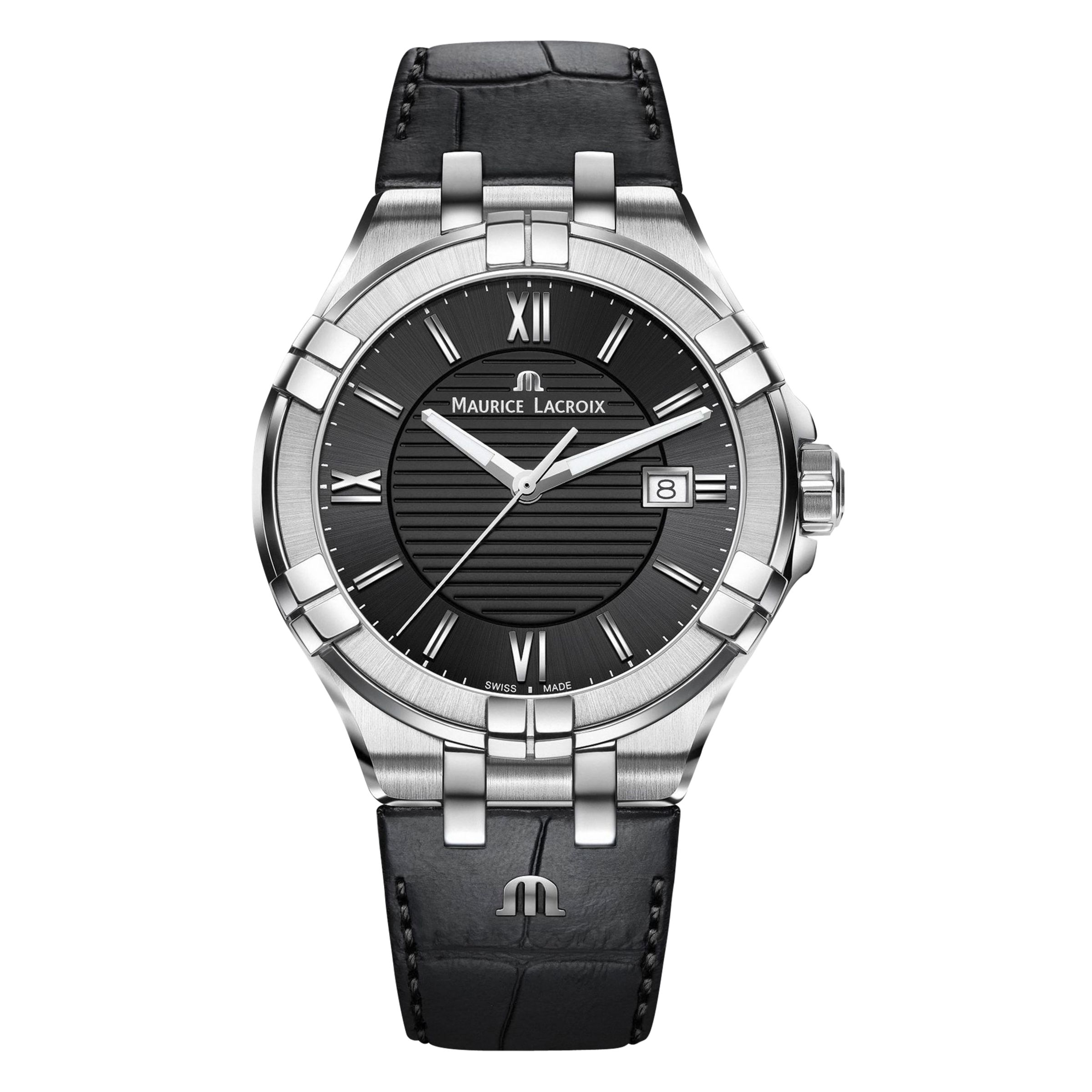 Maurice Lacroix Maurice Lacroix AI1008-SS001-330-1 Men's Aikon Date Leather Strap Watch, Black