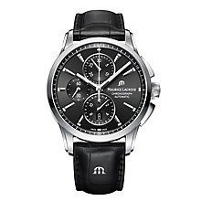 Buy Maurice Lacroix PT6388-SS001-330-1 Men's Pontos Chronograph Date Automatic Leather Strap Watch, Black Online at johnlewis.com