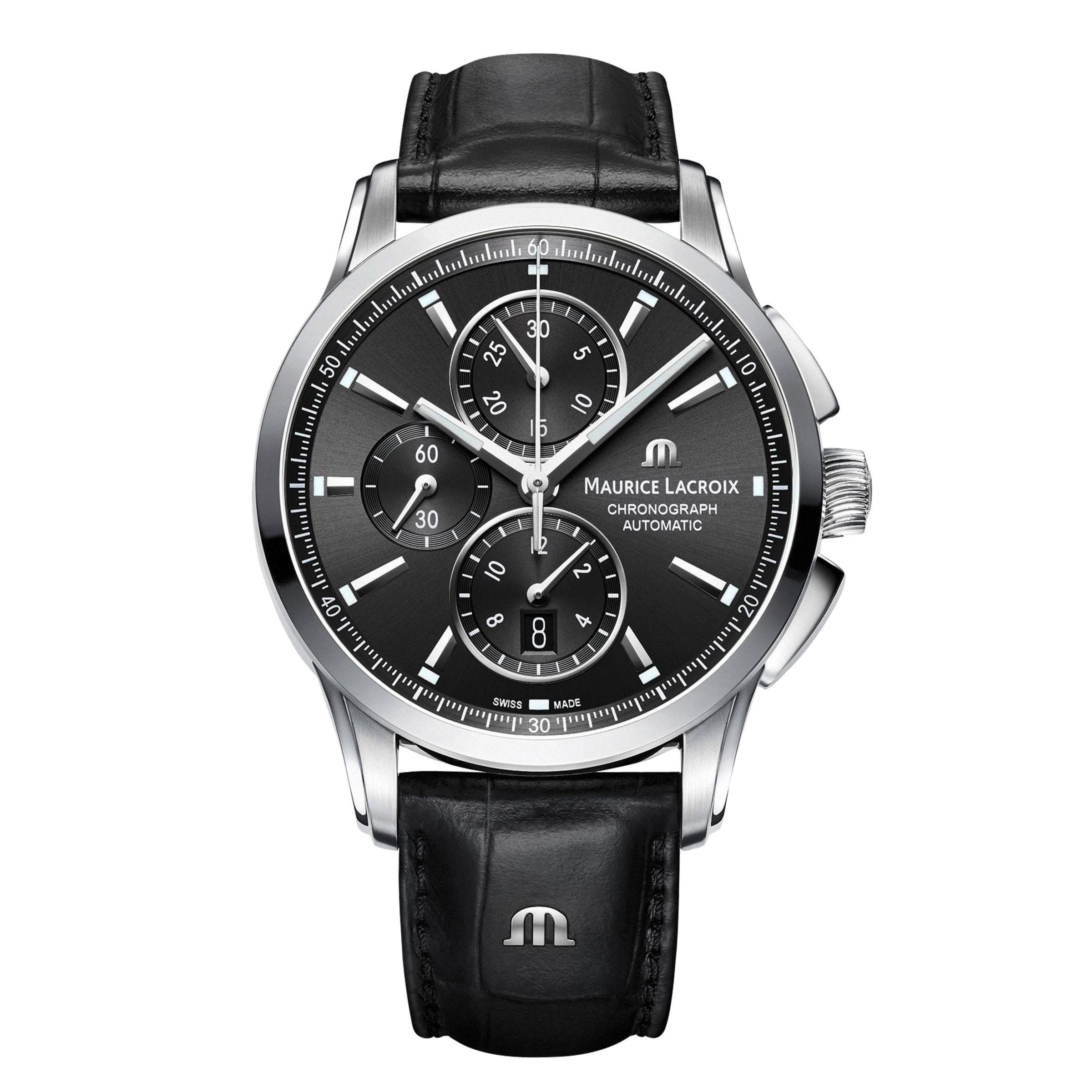 Maurice Lacroix Maurice Lacroix PT6388-SS001-330-1 Men's Pontos Chronograph Date Automatic Leather Strap Watch, Black
