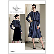 Buy Vogue Misses' Women's Popover Lined Midi Dress Sewing Pattern, 1512 Online at johnlewis.com