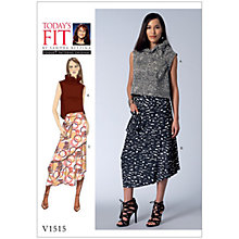 Buy Vogue Misses' Women's Ruffle Neck Top and Asymmetrical Skirt Sewing Pattern, 1515 Online at johnlewis.com