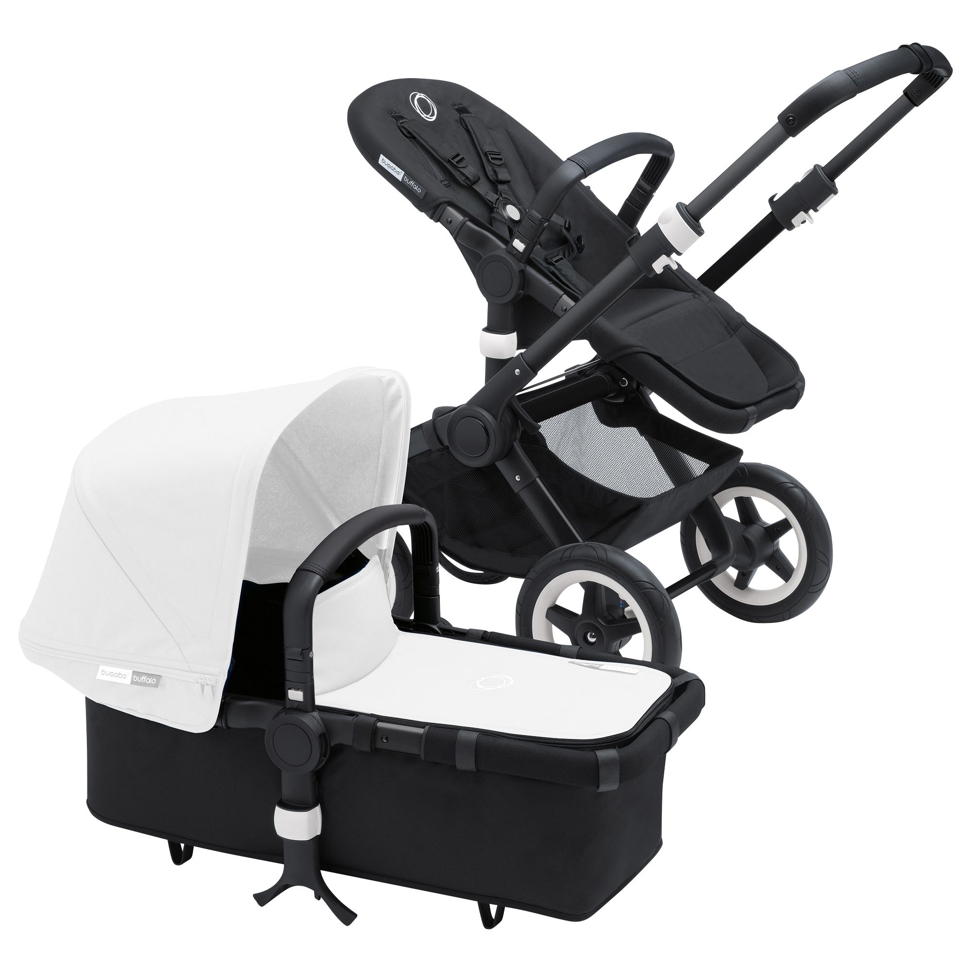 Bugaboo Bugaboo Buffalo Pushchair Base and Carrycot 2016, Black/Black