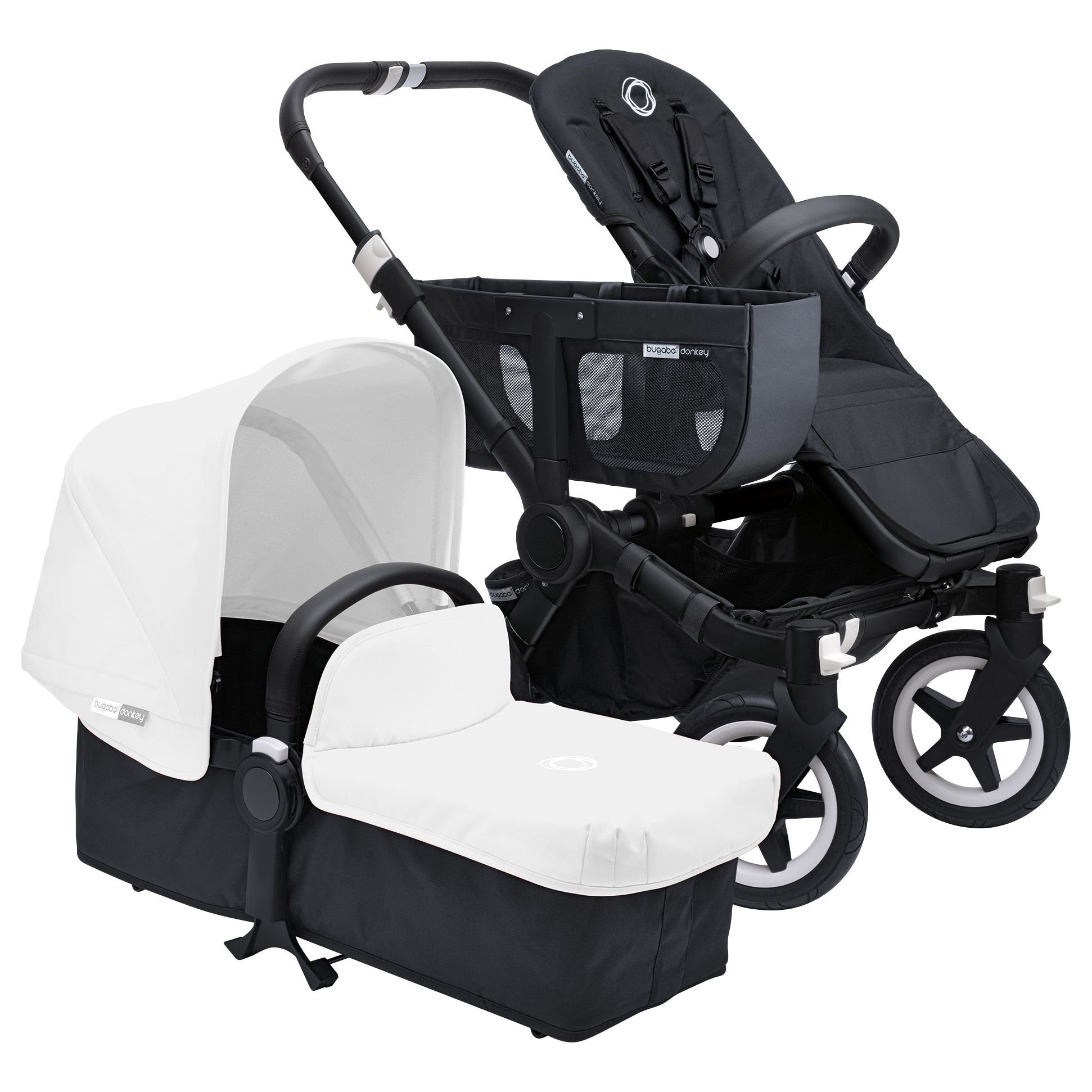 Bugaboo Bugaboo Donkey Base Pushchair Chassis and Carrycot 2016, Black/Black