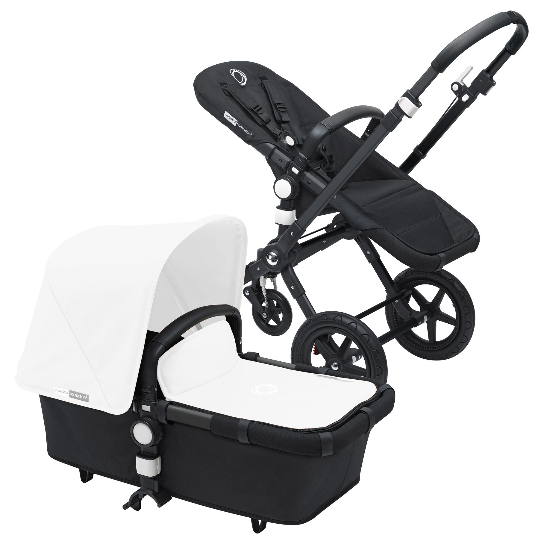 Bugaboo Bugaboo Cameleon3 Pushchair Base Unit and Carrycot 2016, Black/Black