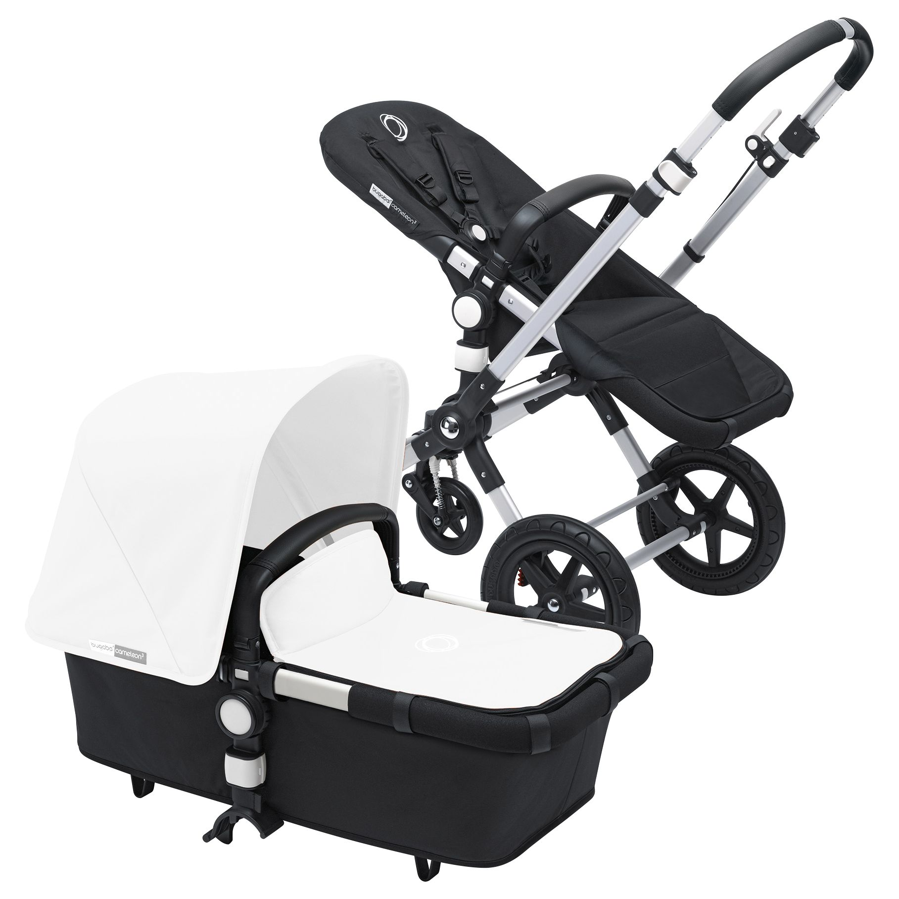Bugaboo Bugaboo Cameleon3 Pushchair Base Unit and Carrycot 2016, Aluminum/Black