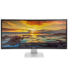 "Buy Dell U3415W QHD IPS Ultrasharp 34"" Curved Monitor, Black Online at johnlewis.com"