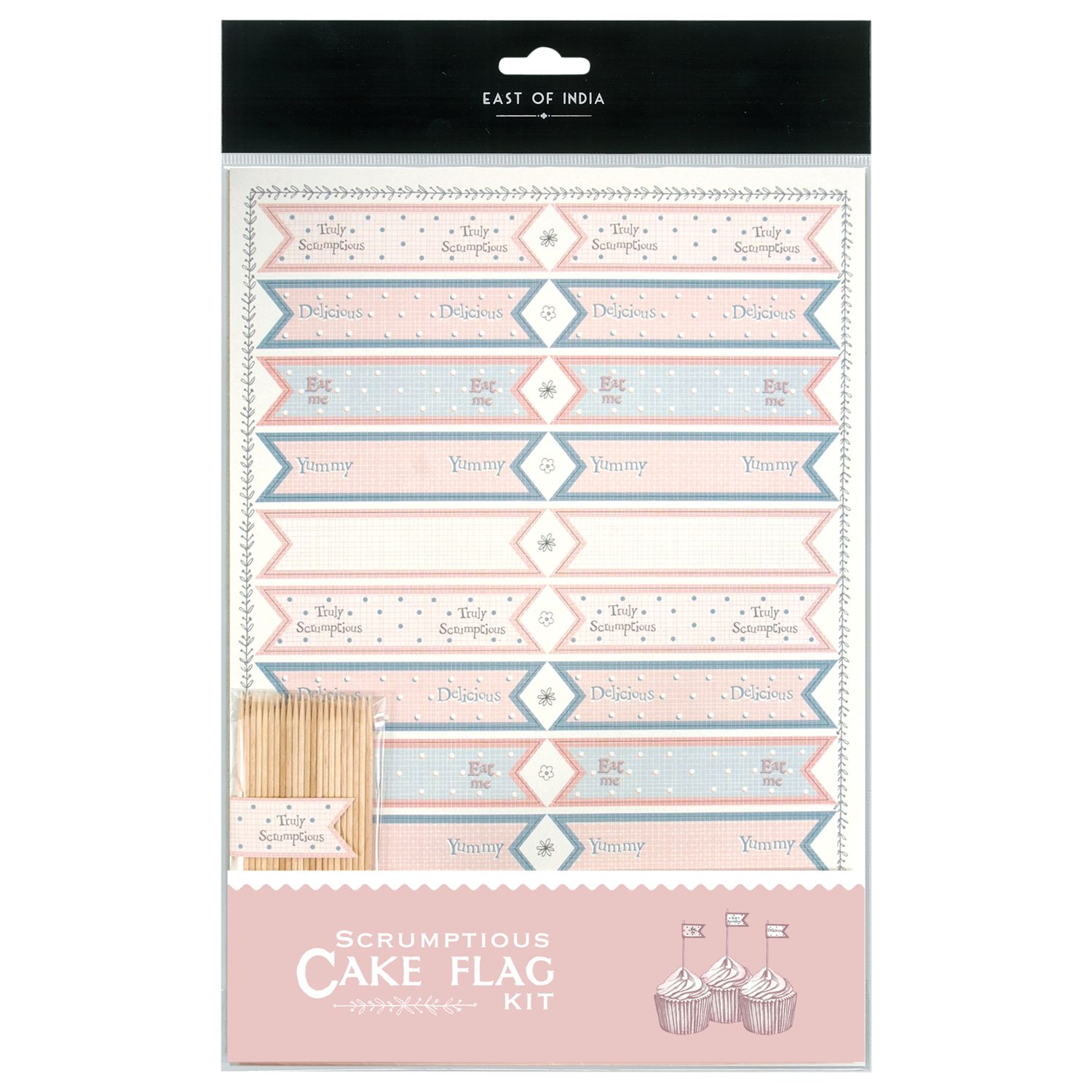 East of India East of India Cupcake Tiny Flag Kit, Pack of 22