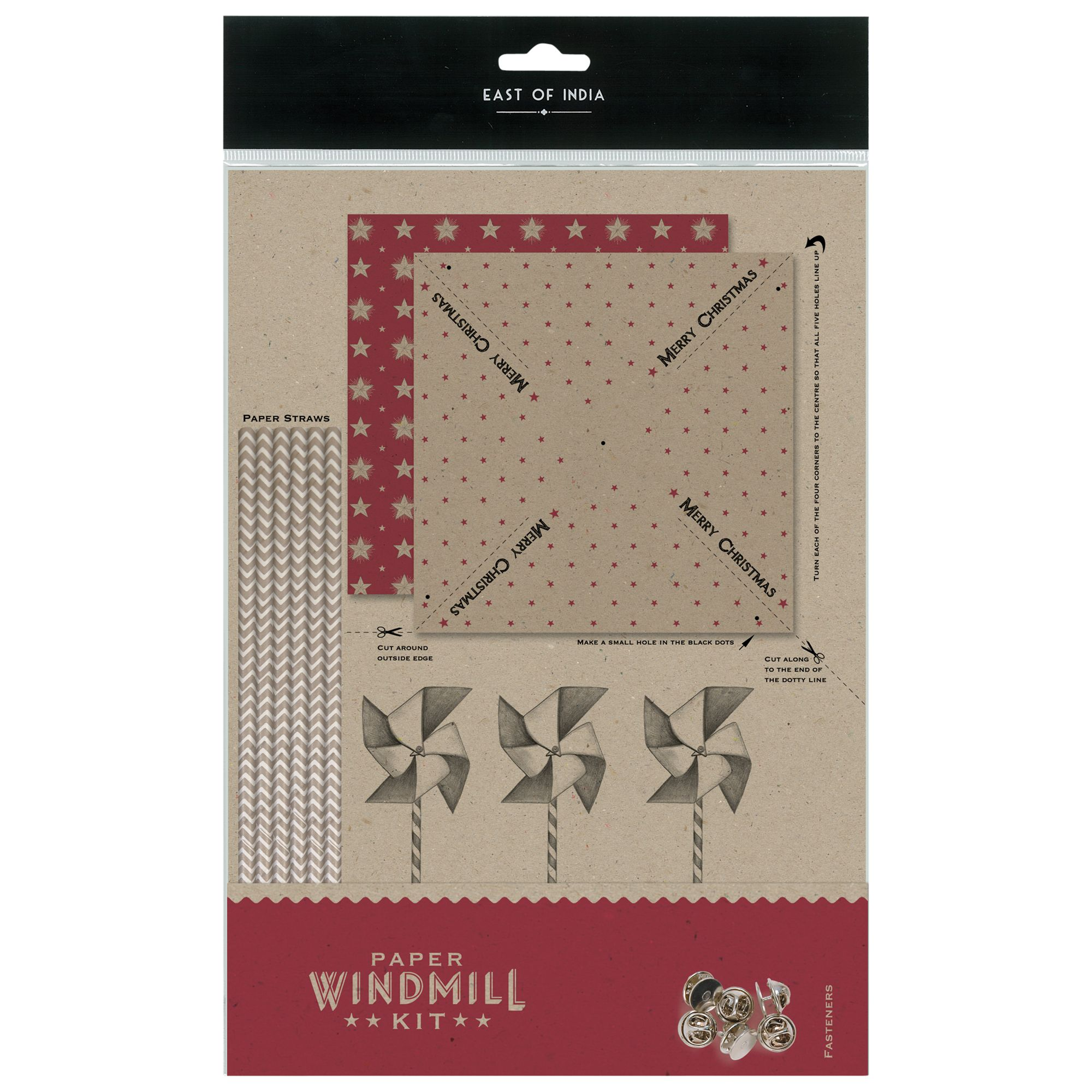 East of India East of India Christmas Paper Windmill Kit, Brown/Red