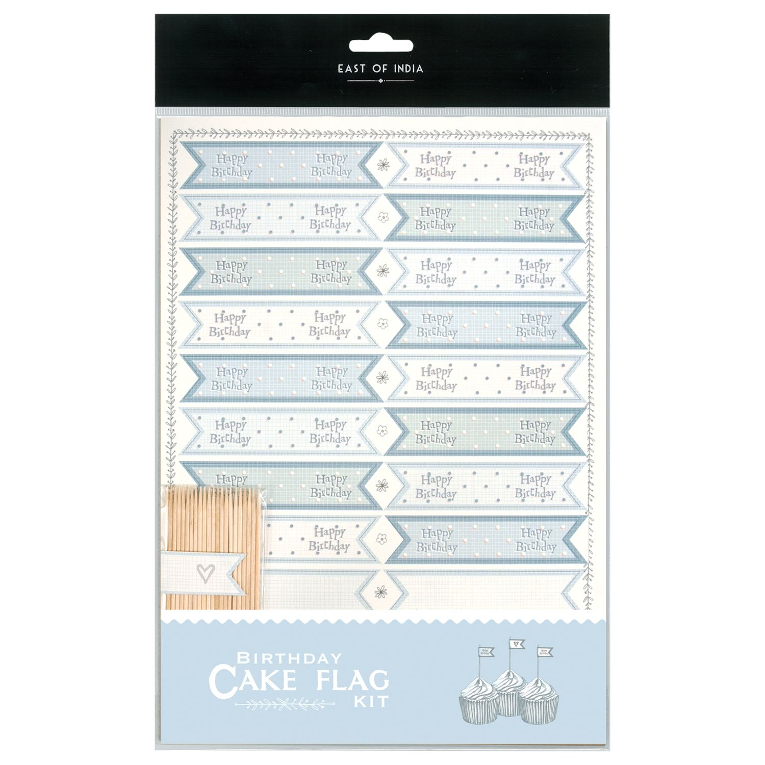 East of India East of India Cupcake Tiny Happy Birthday Flag Kit, Pack of 22