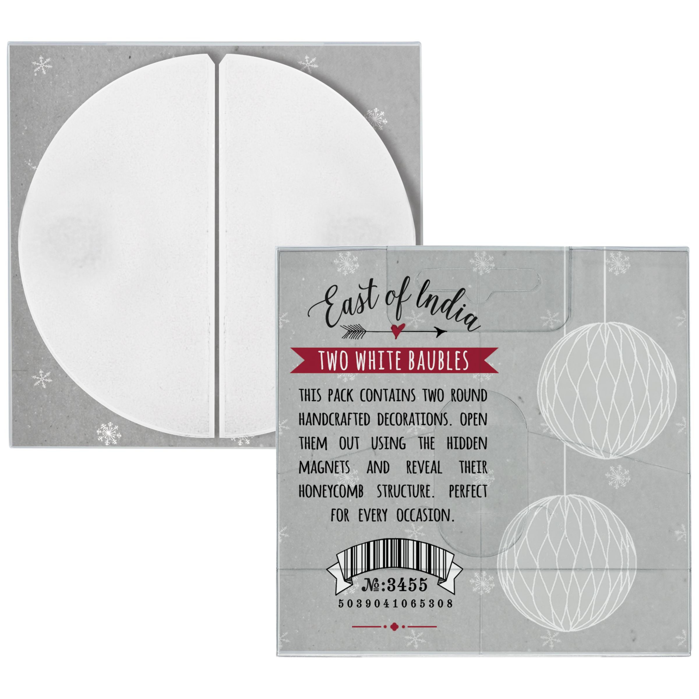 East of India East of India Paper Baubles, Pack of 2, White