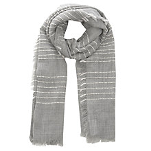 Buy Oasis Stripe Weave Scarf, Mid Grey Online at johnlewis.com