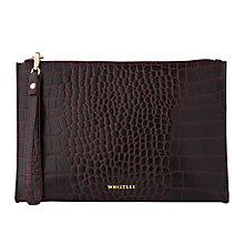 Buy Whistles Shiny Croc Leather Wristlet, Burgundy Online at johnlewis.com