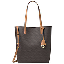 Buy MICHAEL Michael Kors Hayley Large Leather North / South Tote Bag, Brown / Peanut Online at johnlewis.com