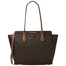 Buy MICHAEL Michael Kors Dee Dee Large Convertible Leather Tote Bag, Brown Online at johnlewis.com