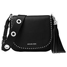 Buy MICHAEL Michael Kors Brooklyn Medium Saddle Bag, Black Online at johnlewis.com