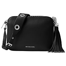 Buy MICHAEL Michael Kors Brooklyn Large Leather Camera Bag, Black Online at johnlewis.com