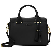 Buy MICHAEL Michael Kors Geneva Large Leather Satchel, Black Online at johnlewis.com