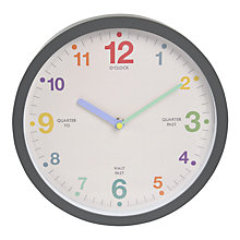 Buy London Clock Company Children's Tell The Time Clock, 25 x 25cm, Grey Online at johnlewis.com