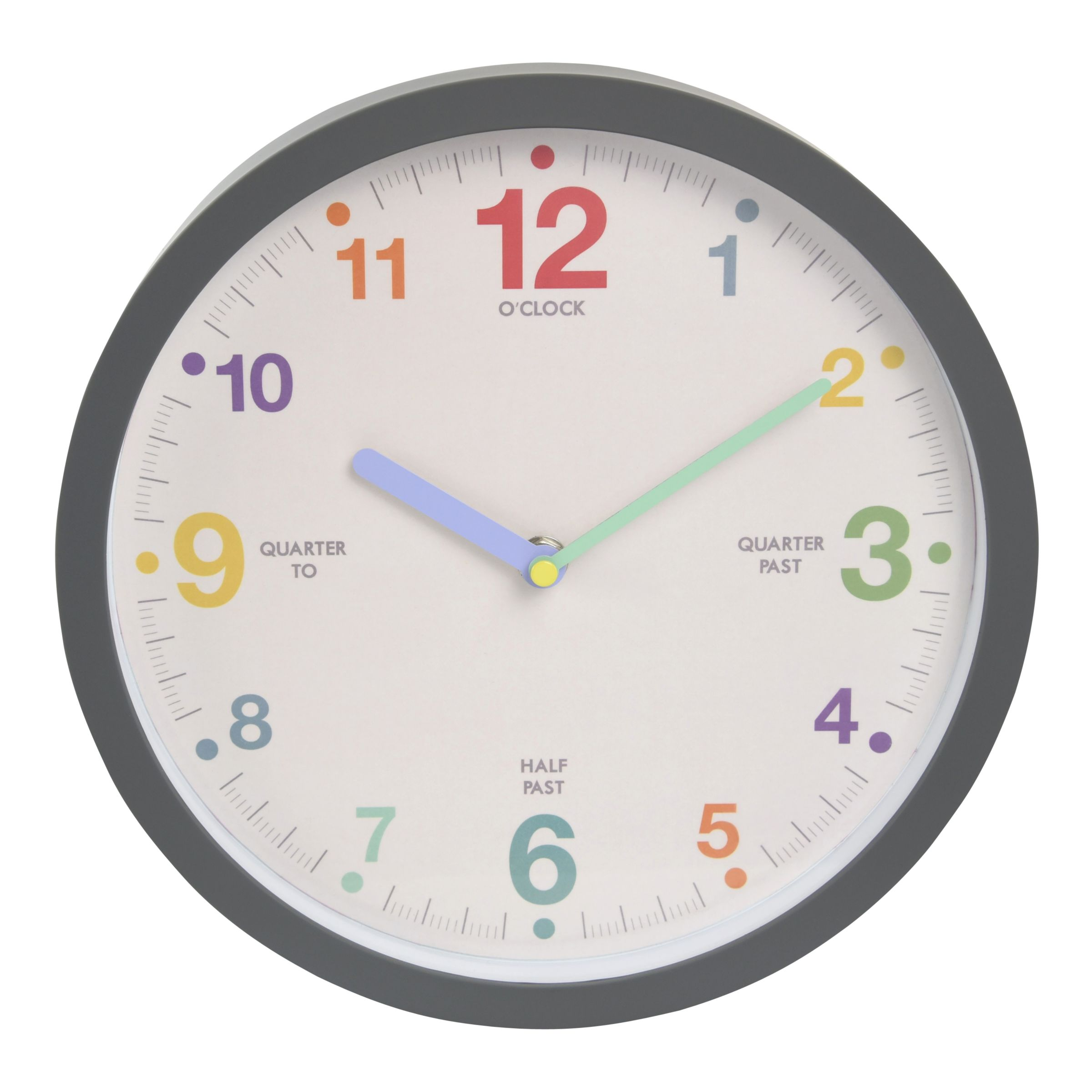 London Clock Company London Clock Company Children's Tell The Time Clock, 25 x 25cm, Grey