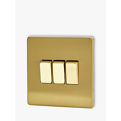 Image of Varilight 3 Gang 2-Way Rocker Switch, Brushed Brass