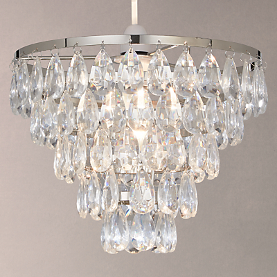 John Lewis Annika Easy-to-Fit Crystal Effect Ceiling Light, Clear