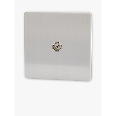 Image of Varilight 1 Gang Co-axial Socket Switch, Brushed Steel