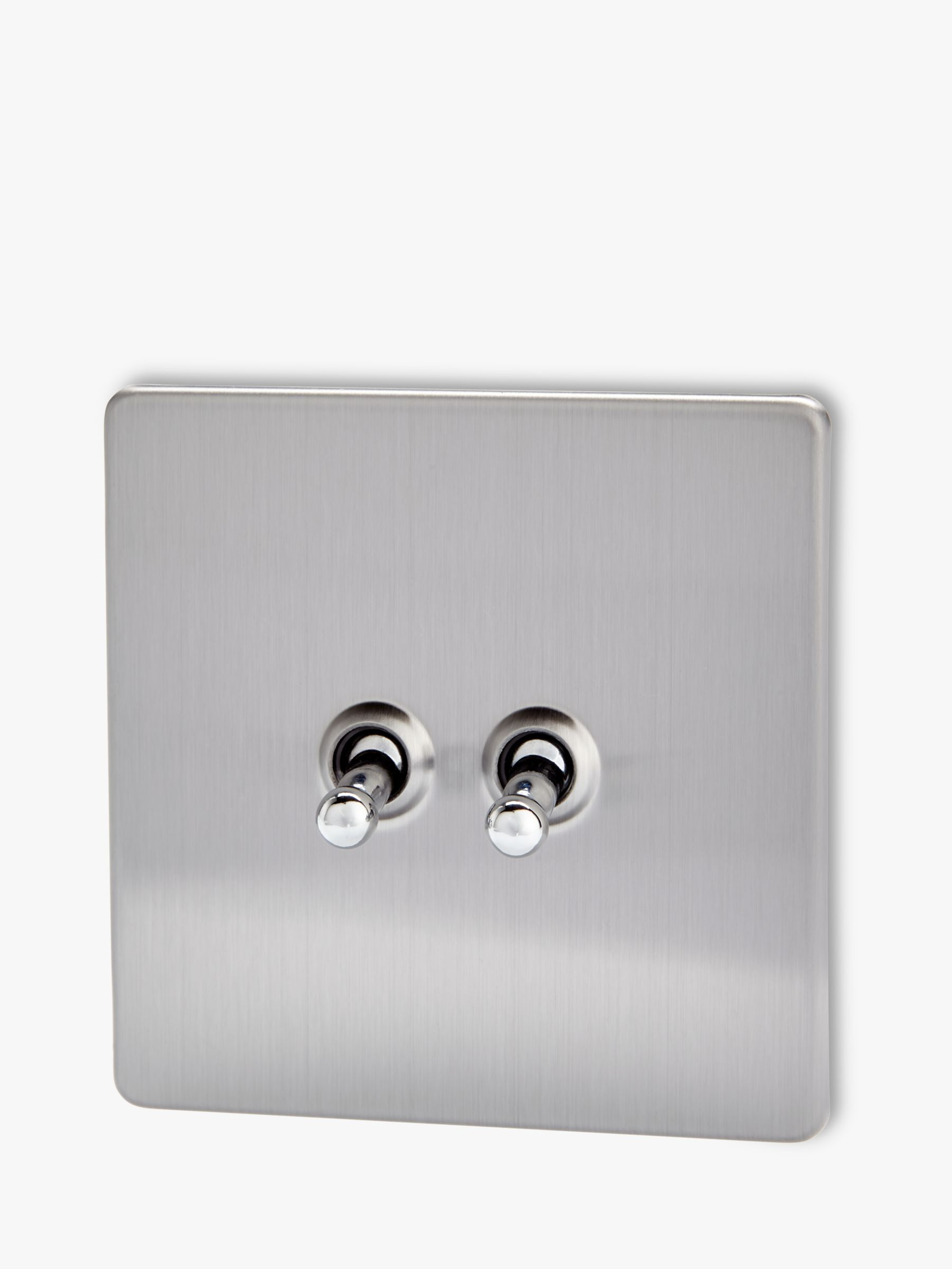 Varilight Varilight 2 Gang 2-Way Toggle Switch, Brushed Steel