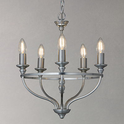 John Lewis Bailey Chandelier Ceiling Light, 5 Arm, Galvanised