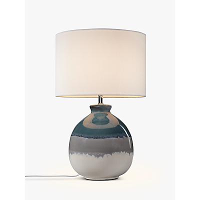 John Lewis Martha Stripe Ceramic Table Lamp, Blue