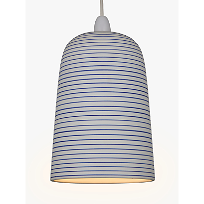 John Lewis Portland Striped Ceramic Easy-to-Fit Pendant Shade, White/Blue