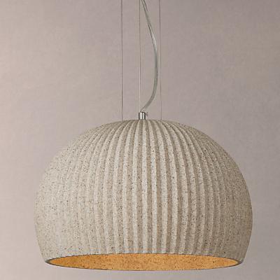 John Lewis Oscar Stone Ribbed Pendant Ceiling Light, Natural